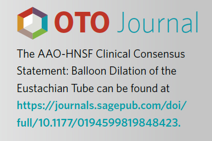 AAO-HNSF Clinical Consensus Statement: Balloon Dilation of the Eustachian Tube